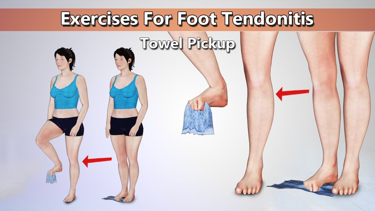 Towel Pickup Stretch Exercise for Foot Tendonitis