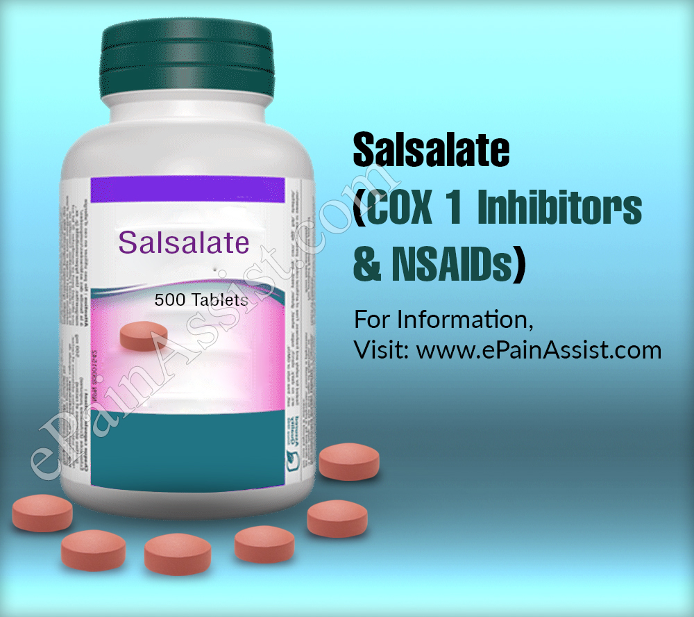 Salsalate (COX 1 Inhibitors and NSAIDs)