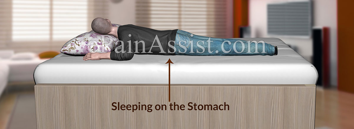 Sleeping on stomach can cause back pain or neck pain