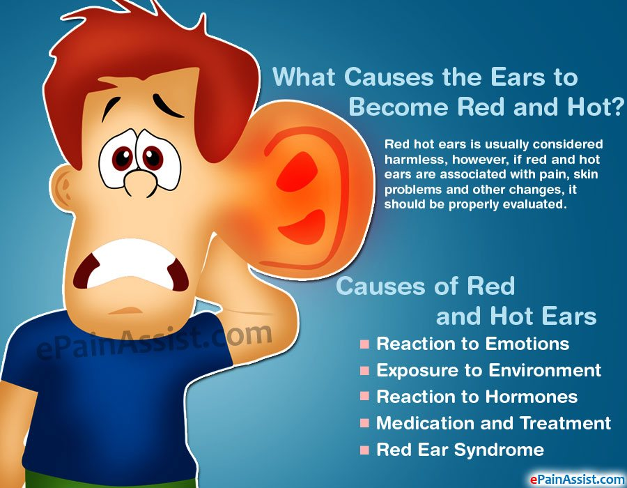 Causes of red and hot ear