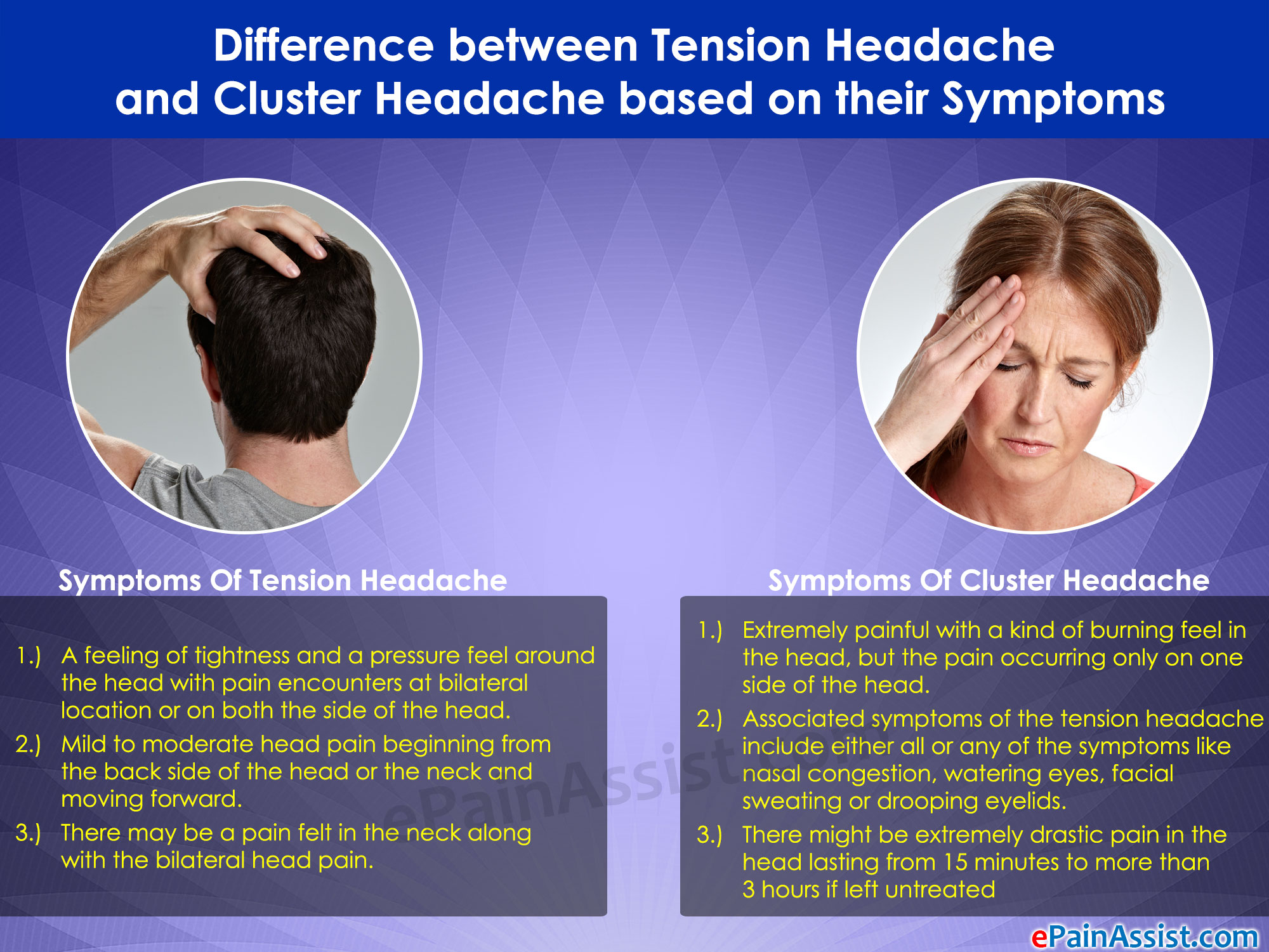 Difference Between Tension Headache And Cluster Headache Based On Their Symptoms