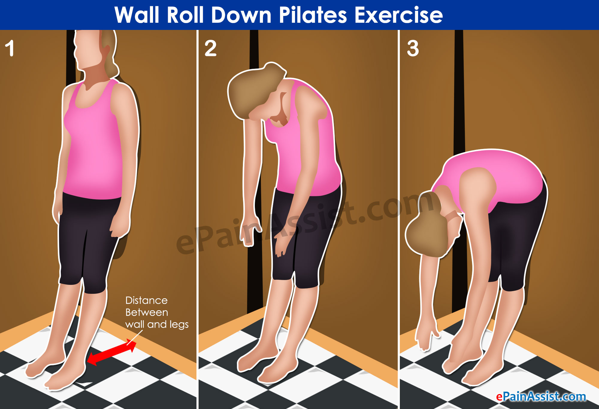 Wall Roll Down Pilates Exercise