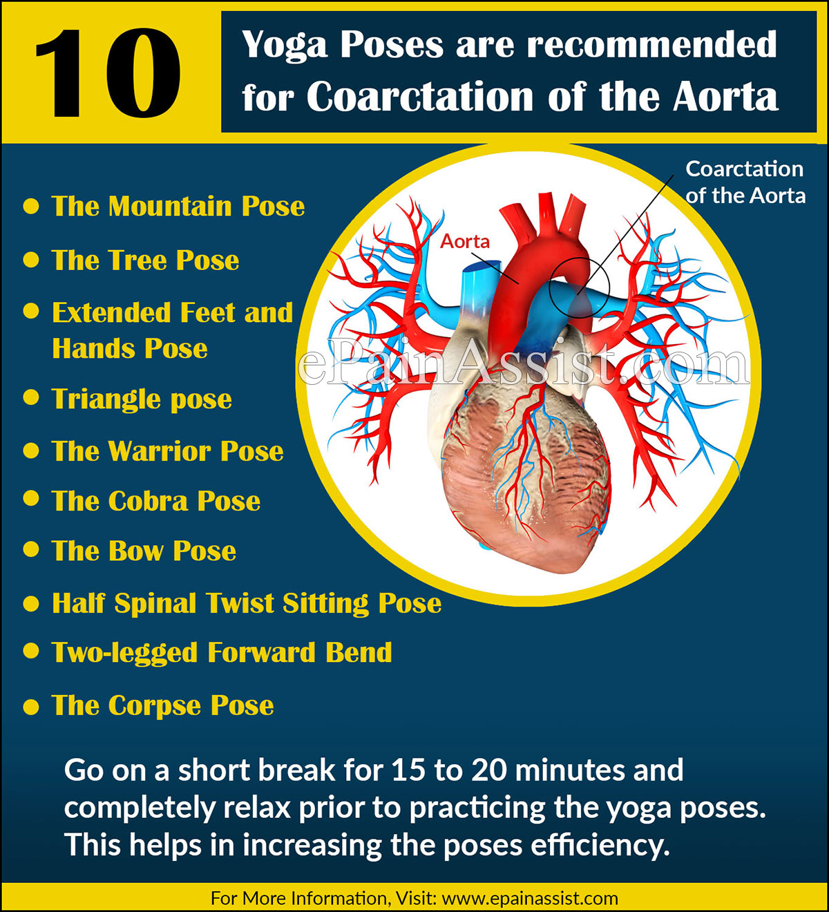 Yoga Poses or Asanas are recommended for Coarctation of the Aorta (COA) or Aortic Narrowing